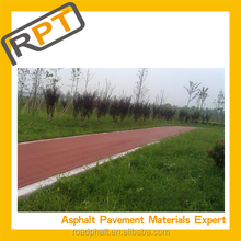 Red colored cold asphalt mixture for road construction