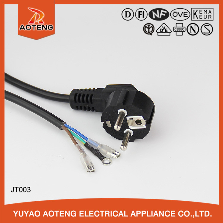 220v power cord cable VDE approval EU stanard 3 pin black h05vv-f 3g1.5mm2 power cords