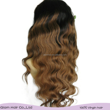 ombre hair color body wave hair for brazilian blonde u part wig