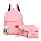 Pink color 4 piece pu material girl women Mini backpack bag set