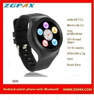 2016 full round screen wifi GPS android 3G smart watch with MTK 6580 chipset
