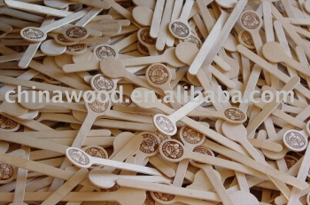 Wooden coffee stirrer with hot stamp --- YDST06