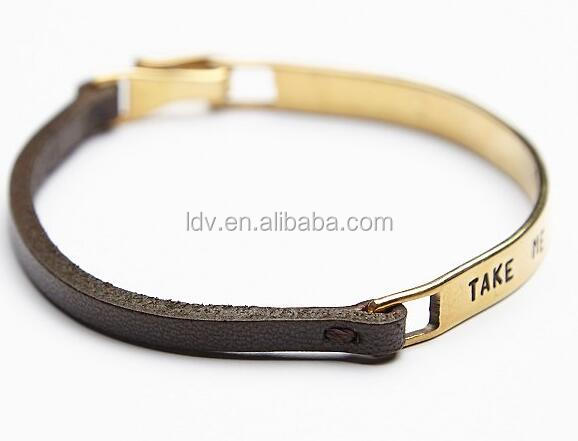 Leather Engraved Bracelet Texas Tom Rough Style Cuff