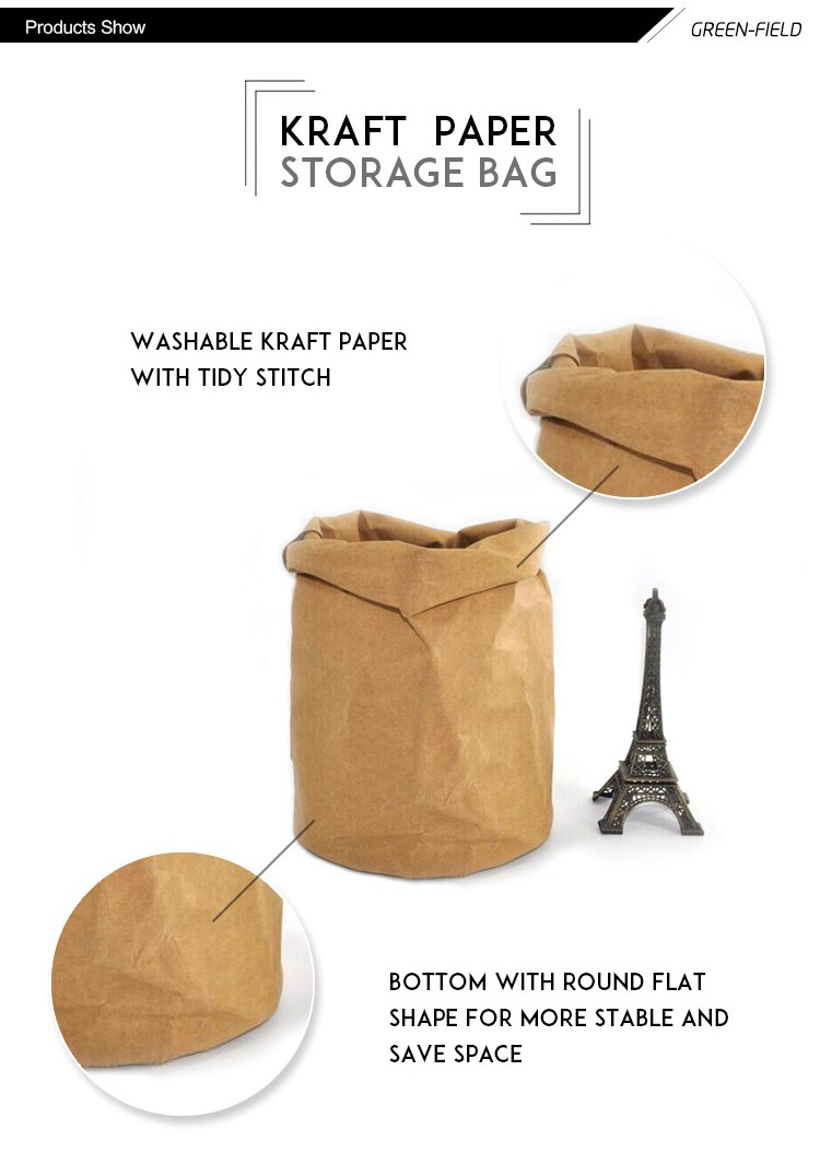 Washable Kraft paper bag grey food washable Kraft paper bag