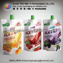 Special shape spout pouch bags for juice/jelly/snack food