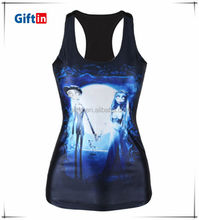Fashion custom printing/3d Sublimation T-back women blouse for summer