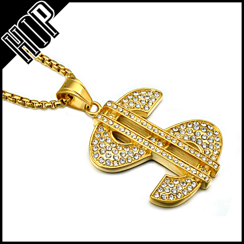 Hip Hop Style Gold Plated Stainless Steel Dollar Sign Necklace