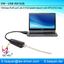 Driver Free ! 10/100Mbps USB 2.0 to Lan Card for laptop