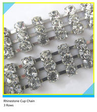 Roll Rhinestone Cup Chain Silver Clear Crystal 3 Rows ss16 4mm