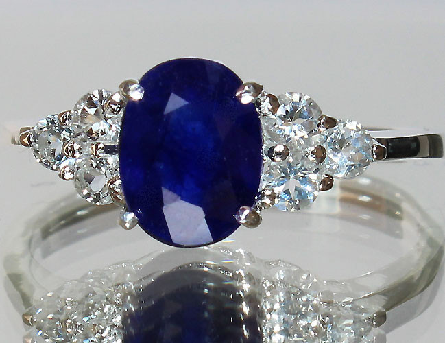 Certified 925 Sterling Silver Jewelry wholesale Natural Blue Sapphire 0.20 cts White Topaz Women's engagement and fashion Ring