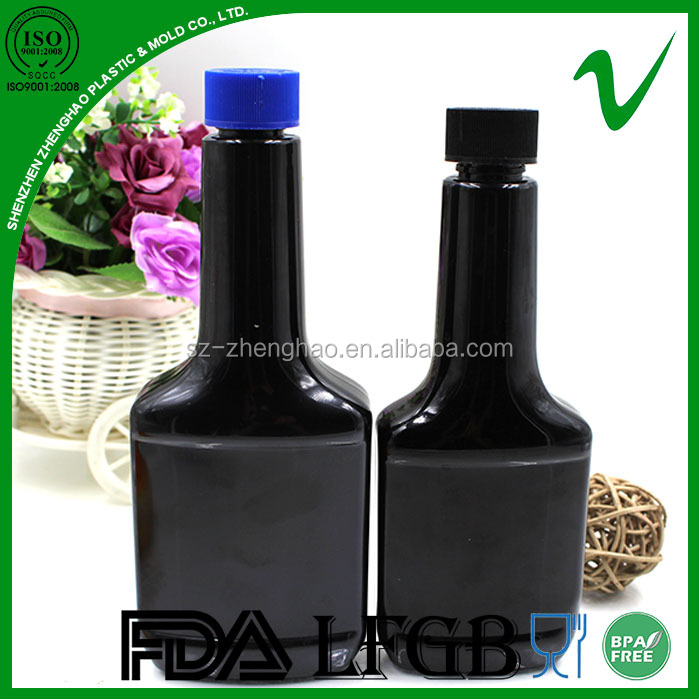PET wholesale empty flat long neck energy fuel additive motor oil plastic bottle with foil sealed cap