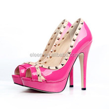 Bright color high heel shoes open toe shoes
