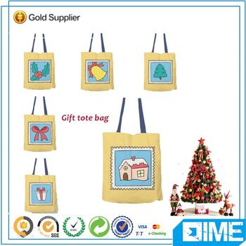 Merry Christmas Bag Factory Cuctom Pure Cotton Tote Shopping Bag