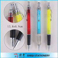 Colorful frost steel wire clip click ball pen with grip