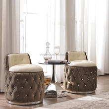 Living room round fabric upholstery stainless leg low back italian modern luxury lounge chair