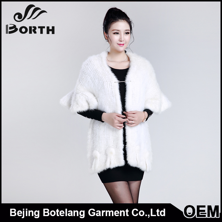 Fur shawl Luxury Eco-tan Floral white mink coat woman