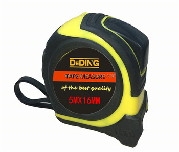 Impact resistant ergonomic co-molded rubberized case power measure tape