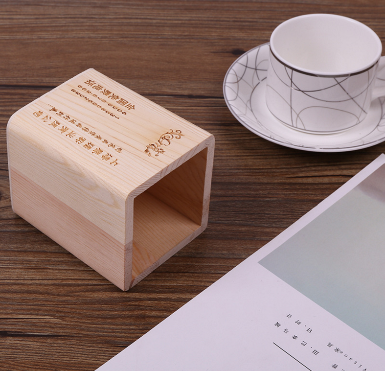 High quality 8x8x10cm square wooden pencil holder