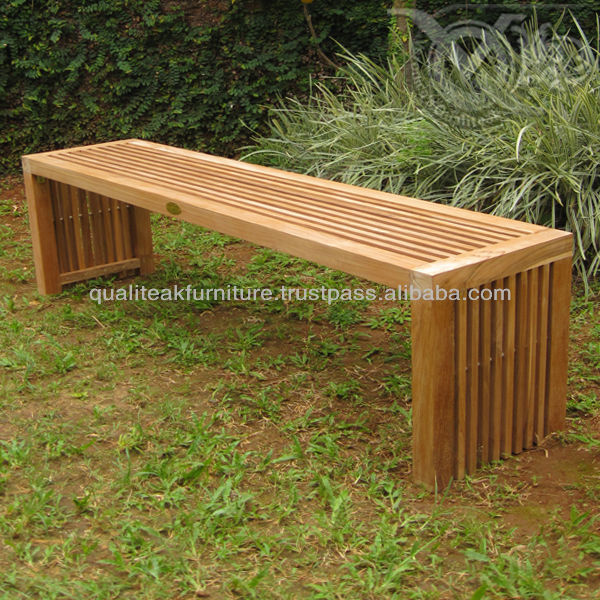 Teak Outdoor Bench With Slats For Home Garden Beach And Pool