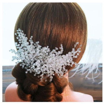 AP40009 Fancy bridal wedding hair comb silver crystal rhinestones women hair side combs clips for bridesmaids