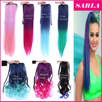Wholesale 2 tone color ombre synthetic hair ponytail colored hair piece