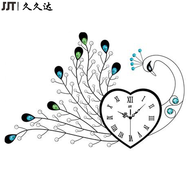 Big Metal Peacock Wal Clock Different Shape Living Room Decoration Time Clock