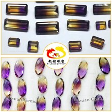 Synthetic amethyst and citrine rough emerald step cut bi color quartz crystal