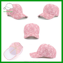 wholesale custom lace soft brim baseball hat pink baseball cap