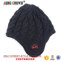 high quality fashion knitted winter hat with earflap pattern