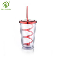 Double Wall Plastic Drinking Water Cup With Straw