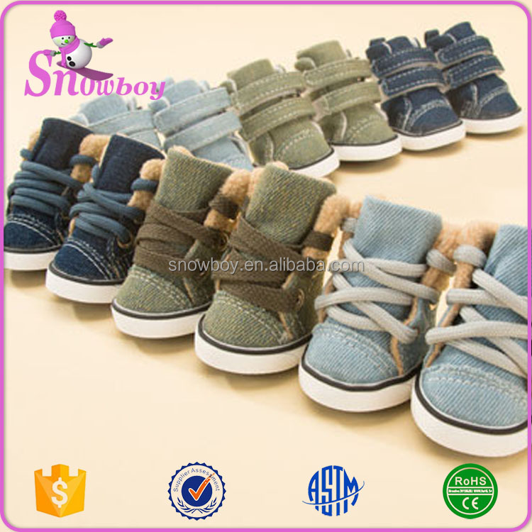 Fashion Pet Denim Shoes Dog Shoes Sport Casual Anti-slip Rubber Pet Boots with Shoe 4Pcs Pack in 5 Sizes