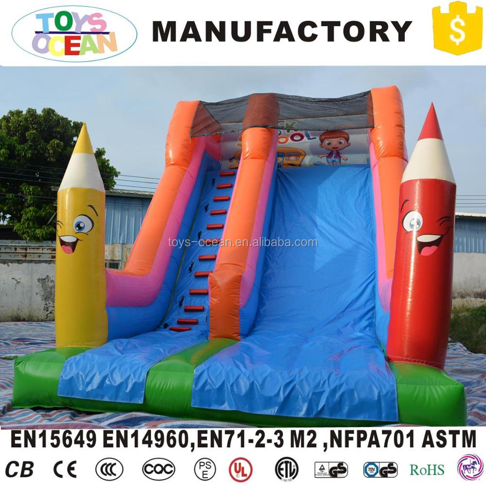colorful inflatable pencil bounce slide with ladder jumping castle