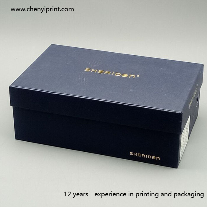 Paperboard lid and tray shape dark blue shoe box with gold stamping