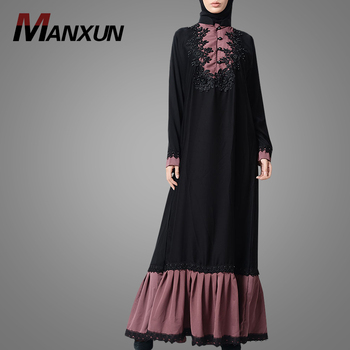 Dubai Fancy Women Floral Sequin Pearl Lace Abaya Dress Long Sleeves Muslim Prayer Clothes Islamic Clothing
