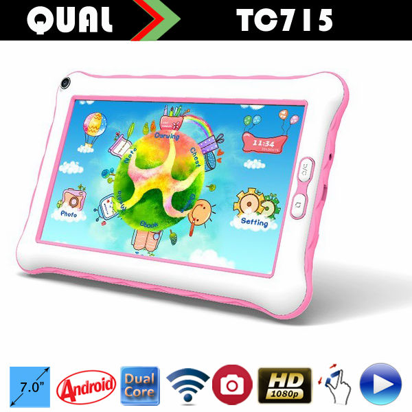 Very cute!!7 inch dual core tablet pc for kids Allwinner A23 or Rockchip 3026 android tablet with two Camera 800*480 Any Colors