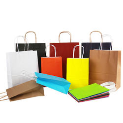 Wholesale Stock Customize Shopping Kraft Paper Bags With Your Own Logo Print with Handle No Minimum
