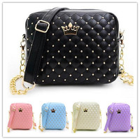 Women Bag Fashion Women Messenger Bags Rivet Chain Pu Shoulder Bag High Quality PU Leather Crossbody Crown Bags