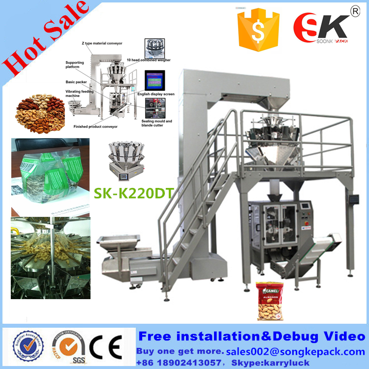 SK-720D Big Combined Weighing Automatic Packaging machine for biscuits, crispy rice, peanut, melon seed, broad bean,potato chips