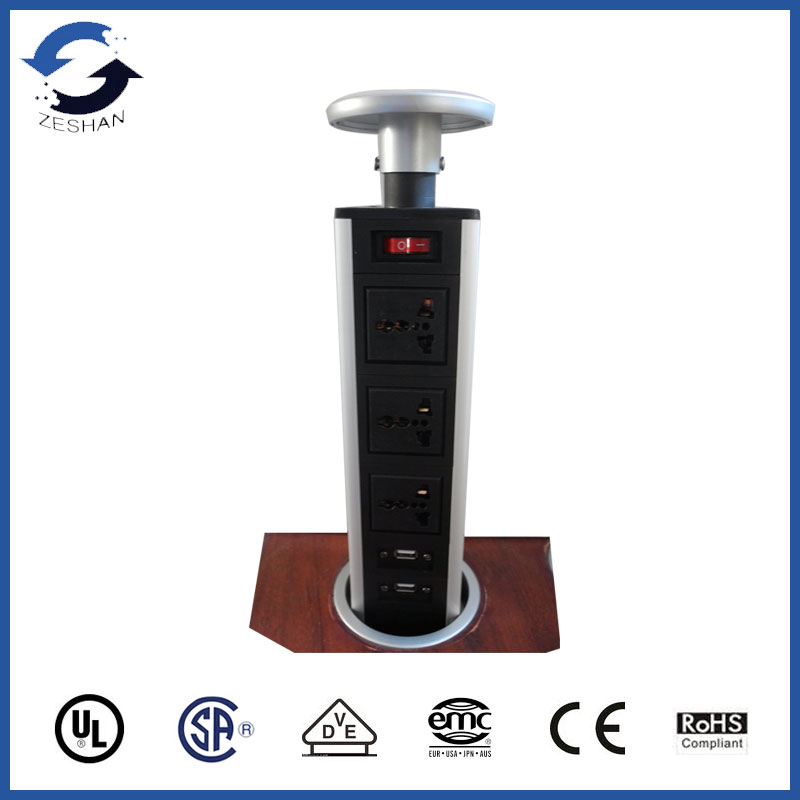 ZS155 Black Aluminum Plate with US power and USB Charger for hotel and private residence