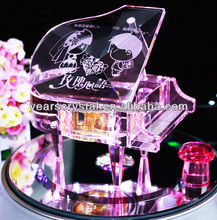 Hot Sale Wedding Gifts Crystal piano music box For Gift And Decorations