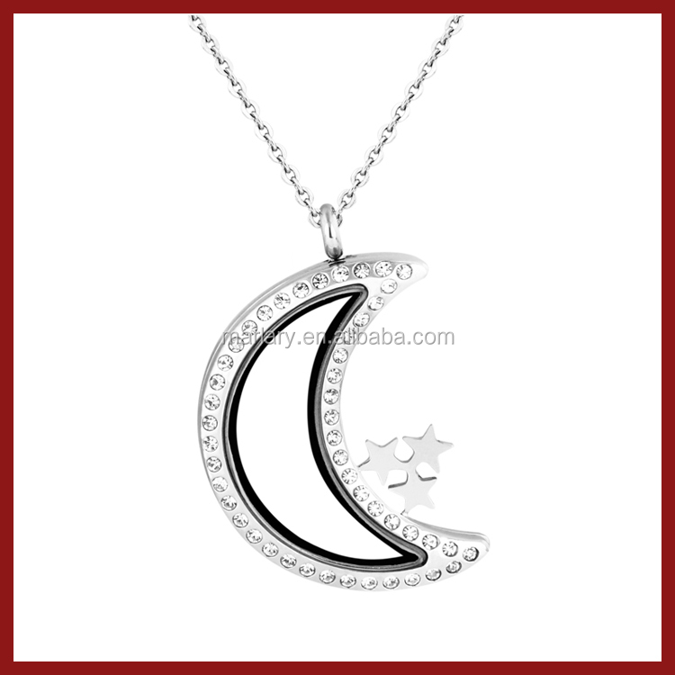 Custom Rhinestone Stainless Steel I Love You Crescent Moon Necklace Glass Cage Locket Pendants