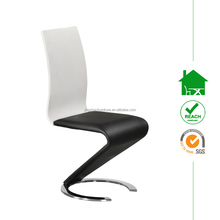 DC-2538 Modern White and Black Faux Leather Chrome Z Chair for Dining Room