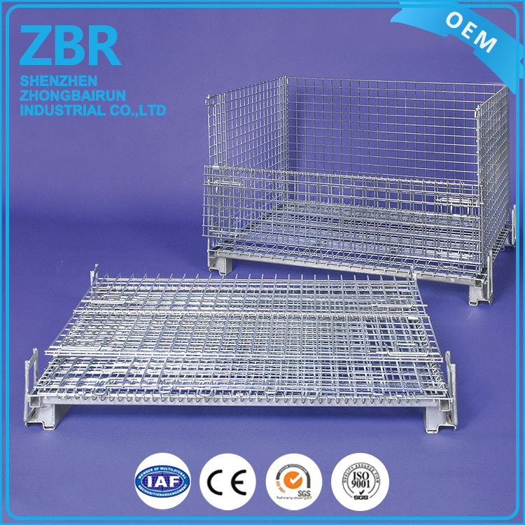 metal folding wire storage cage for electrical parts with casters
