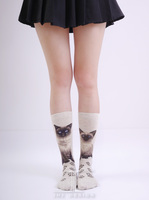The Feline Series Siamese Cat knitted Crew Socks / women decorative socks