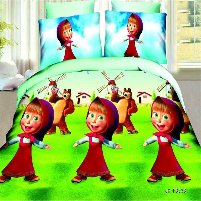 Cartoon 3D Bedding Set 4pcs Printing Bedclothes Duvet Cover Bed Sheet Children Pillowcases Kids Bedding Sets Bed Linen