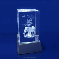 wedding gifts crystal crafs Souvenir led lighting elephant image 3d laser engraving gifts