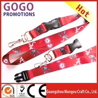 China wholesale high quality 900mm*25mm Alabama football team lanyard with plastic buckle and split ring attached J-hook