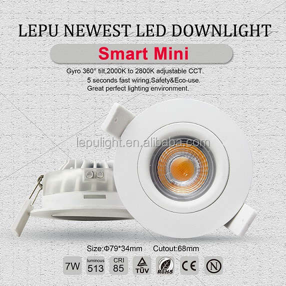 Dim to warm 1800-2700k 68mm cutout GYRO downlight IP44 5years warranty