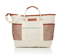 canvas leather trim sheep skin new imported shopping man totes bags men best tote bags