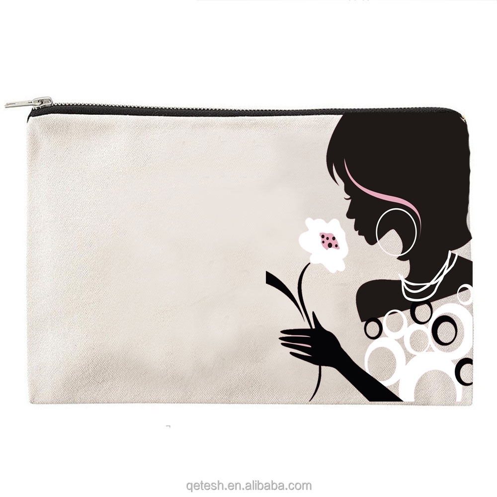 Classic Natural Cheap Canvas Make Up Zipper Bag